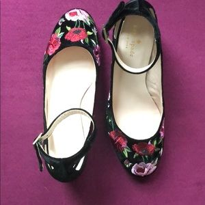 ✨ kate spade velvet floral block heel shoes